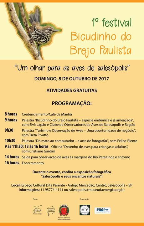 programação do 1º festival bicudinho-do-brejo