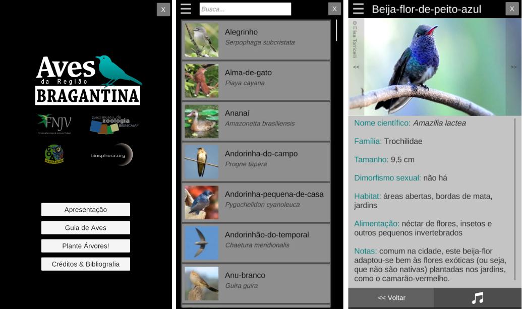 Aplicativo Guia de Aves da Região Bragantina